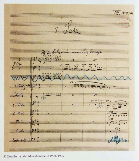 The first page of the manuscript of Mahler's Fourth Symphony